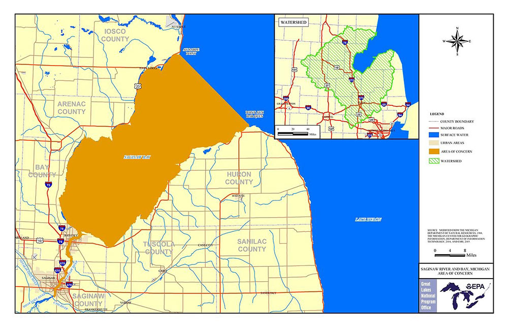 Map of the Saginaw Bay Watershed - Click the image for higher resolution.